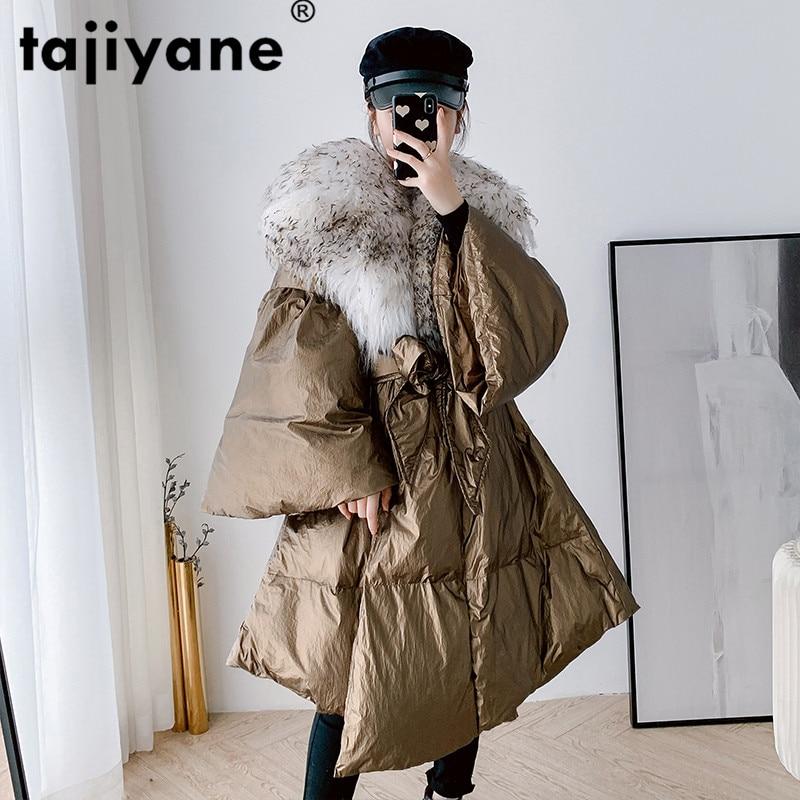 Chaqueta de cuero auténtico con Cuello de piel de lana de 100%, abrigo de Otoño Invierno, ropa de mujer, abrigo de plumas de Sheeskin Vintage 2020 coreano ZT4942