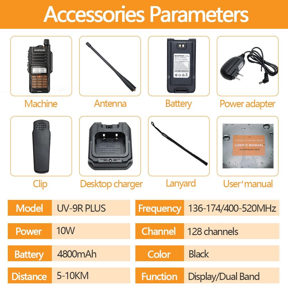 2PCS Walkie Talkies Waterproof Baofeng UV-9R PLUS 10W Portable CB Ham Radio Transceiver VHF UHF  2 Way Radio uv9r plus Hunt 10KM enlarge
