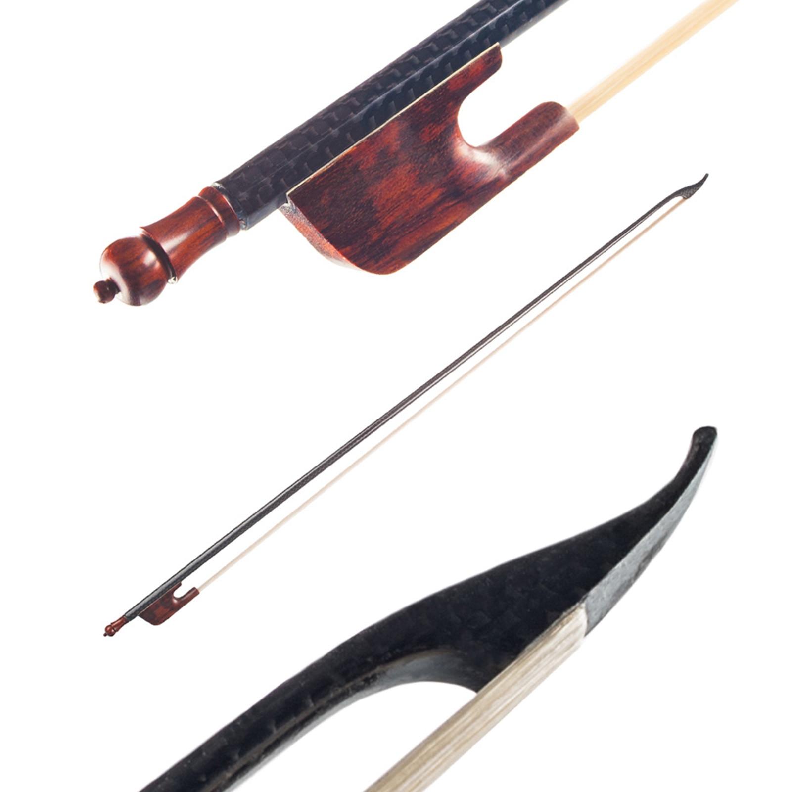 4/4 Violin Fiddle Bow Baroque Style Carbon Fiber Veneer Round Stick Ebony White Horsehair Well Balanced Violin Part
