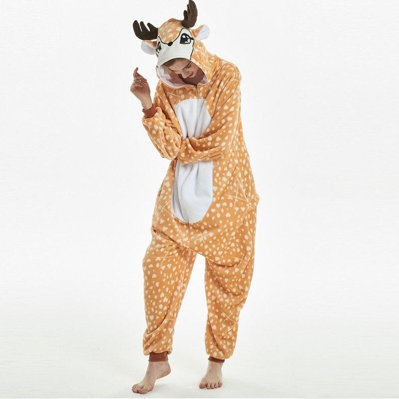 Pijama Kigurumi de venado con capucha para hombre y mujer, pijama de una pieza de franela para adulto, pijama de una pieza caliente para animal kugurumi onsie
