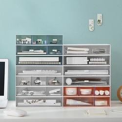 Multifunction gaveta organizador de mesa combinável cosméticos caixa de armazenamento de jóias empilhável organização de armazenamento de escritório em casa recipiente