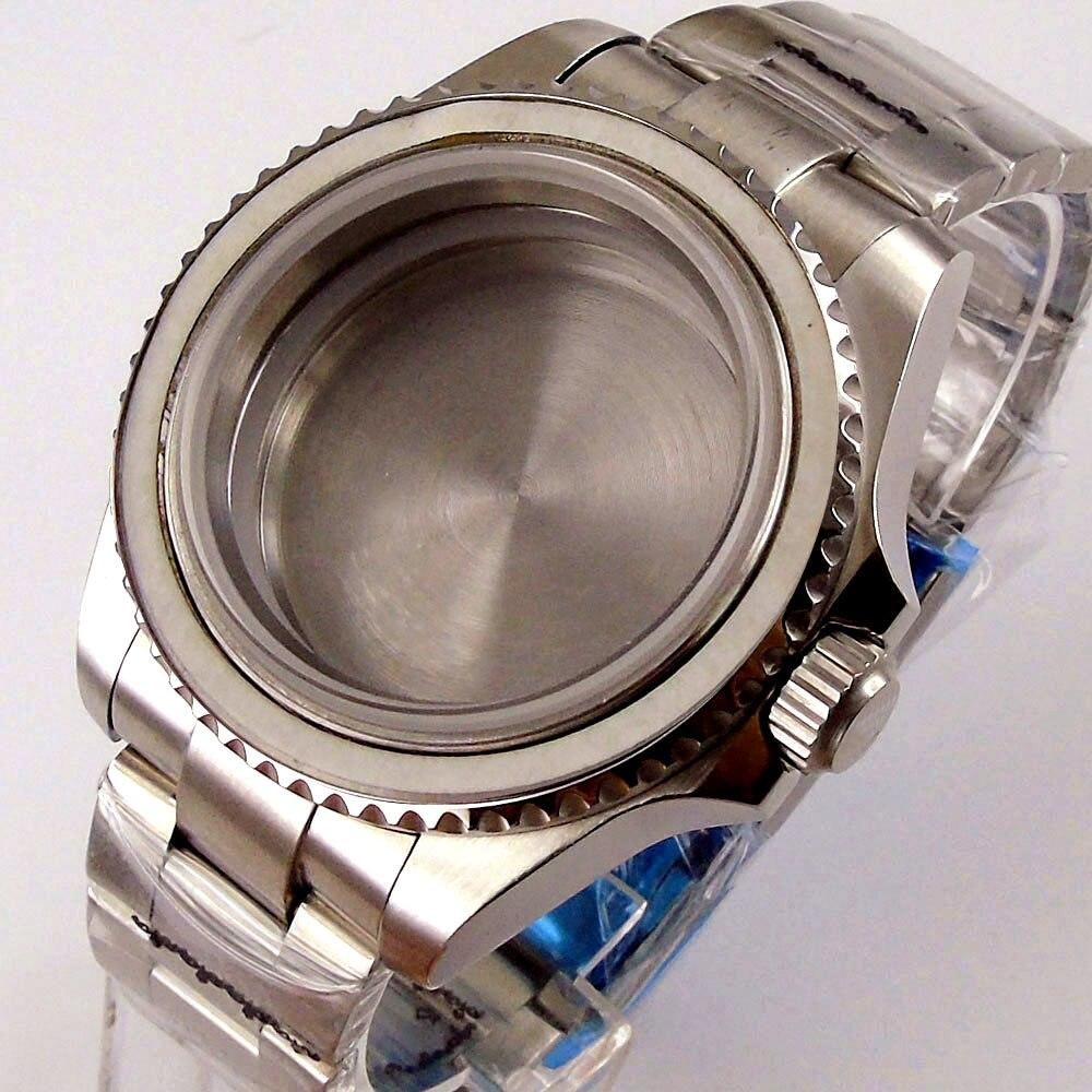 Caixa de Relógio Automático para Nh35a Bliger Nologo Movimento Correia Ostra Safira Parafuso Coroa Vidro 40mm Aço Nh36a