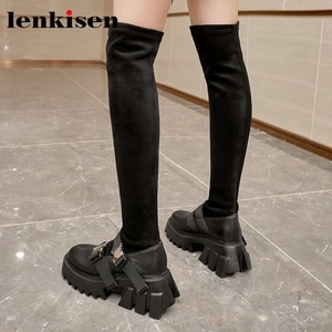 Lenkisen 2020 winter new style genuine leather round toe thick bottom stretch boots Korean street modern over-the-knee boots L03