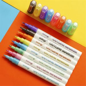 Self-outline Metallic Markers, 8pcs Double Line Pen BuIIet Journal Pens & Colored Permanent Marker Pens for Kids, Adults X6HB