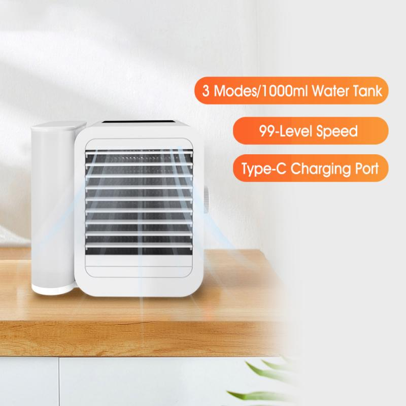 3In 1 مكيف هواء صغير ستبليس تنظيم 1000 مللي مروحة تبريد المياه شاشة تعمل باللمس توقيت Artic برودة المرطب توفير الطاقة
