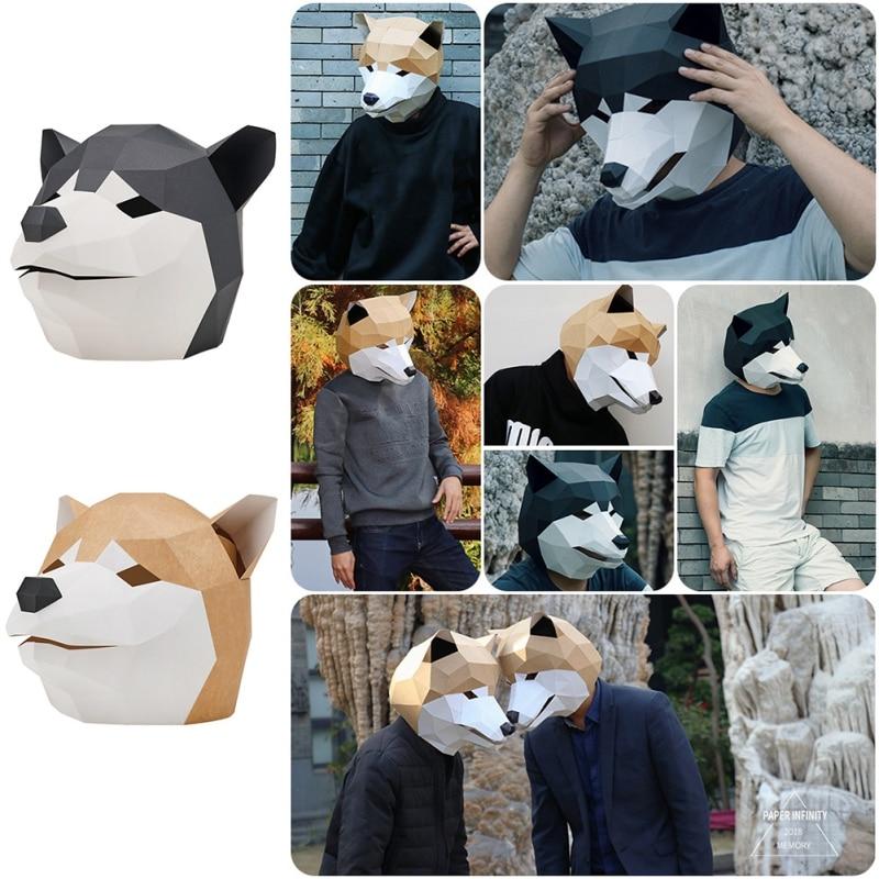 Máscara de papel 3D moda perro lindo Husky disfraz Cosplay papel para manualidades máscara modelo navidad Halloween Prom fiesta regalo