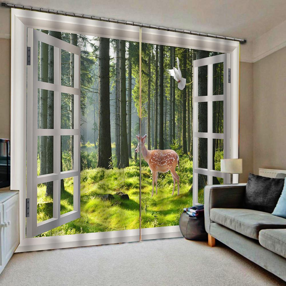 Cortinas de dormitorio para sala de estar Cortinas de tamaño personalizado ventana paisaje natural cortina de paisaje