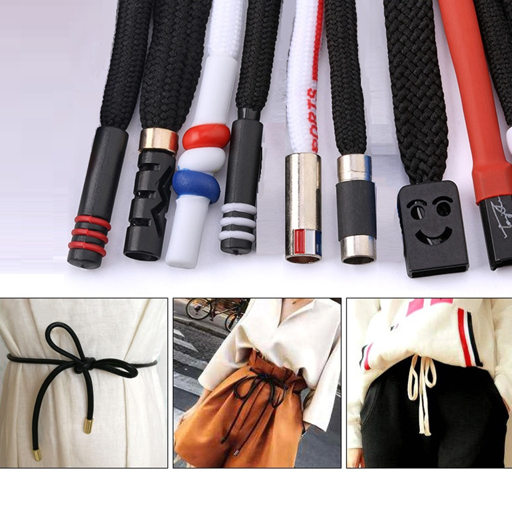 2-Counted Replacement Drawstrings Polyester Rope & Metal Tips Fit for- Pants, Jackets, Coats, Hoodies and Shoe Laces