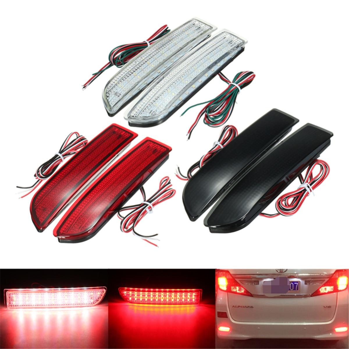 Reflector de parachoques trasero del coche de 2 uds. LED luces de giro de luz de freno trasero para Toyota RAV4 Avensis Saloon Alphard calcula