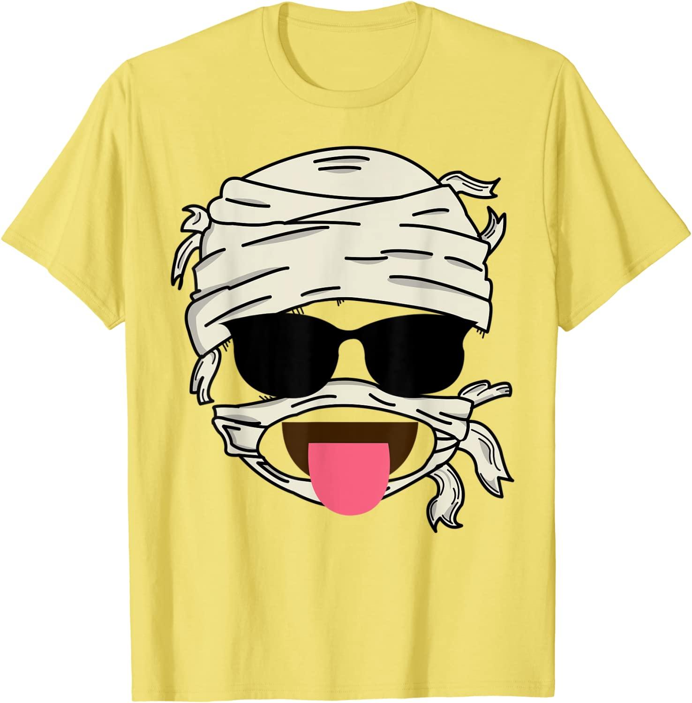 Mummy Sunglasses Face Tongue Out  Smiley Halloween Gift T-Shirt Faddish Mens T Shirt Cotton Tops Shi