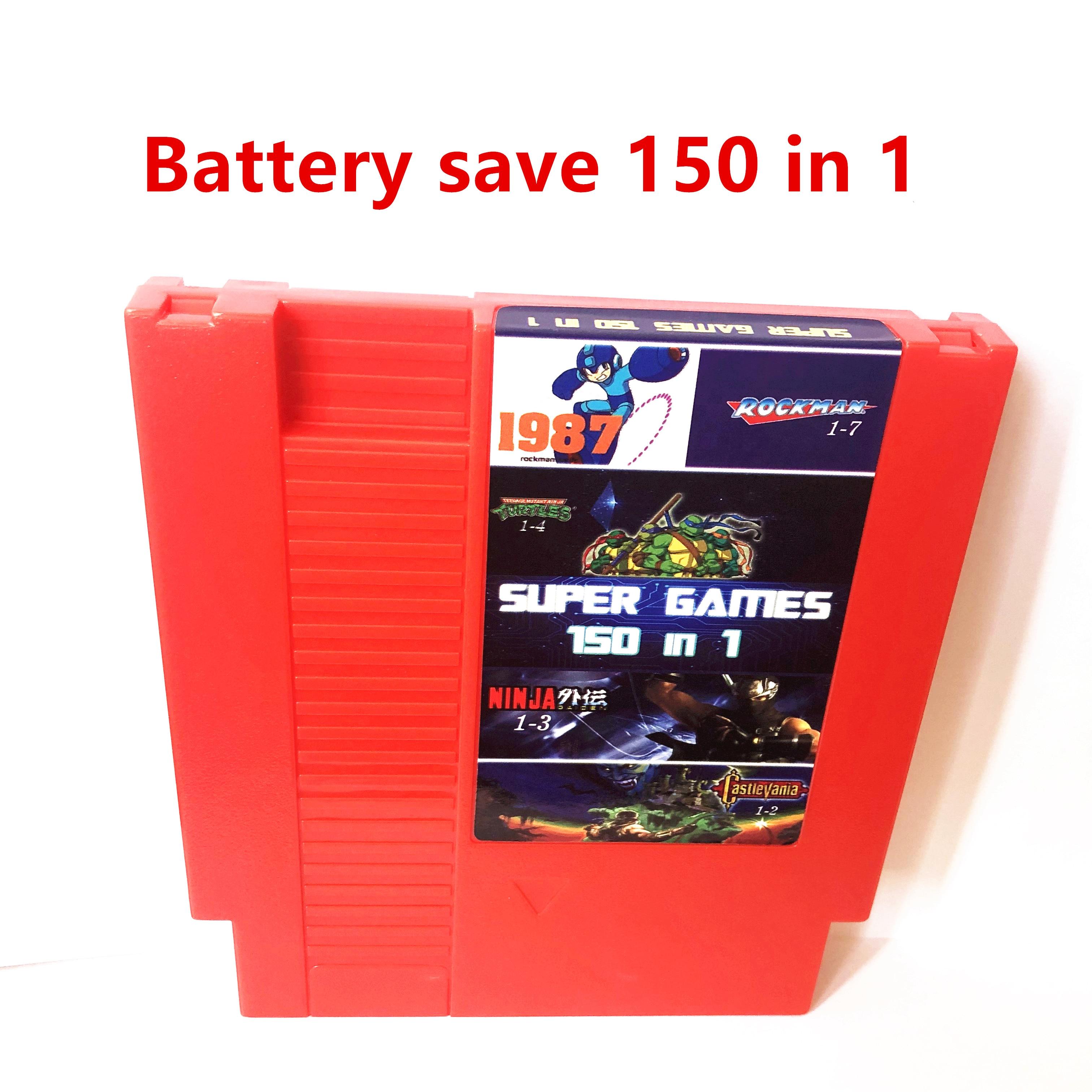 ¡Batería salvar! Rockman 150 en 1 123456, doble dragón 123, Isla de aventura 1234, Kirby para 8 bits 72 pines NTSC y PAL