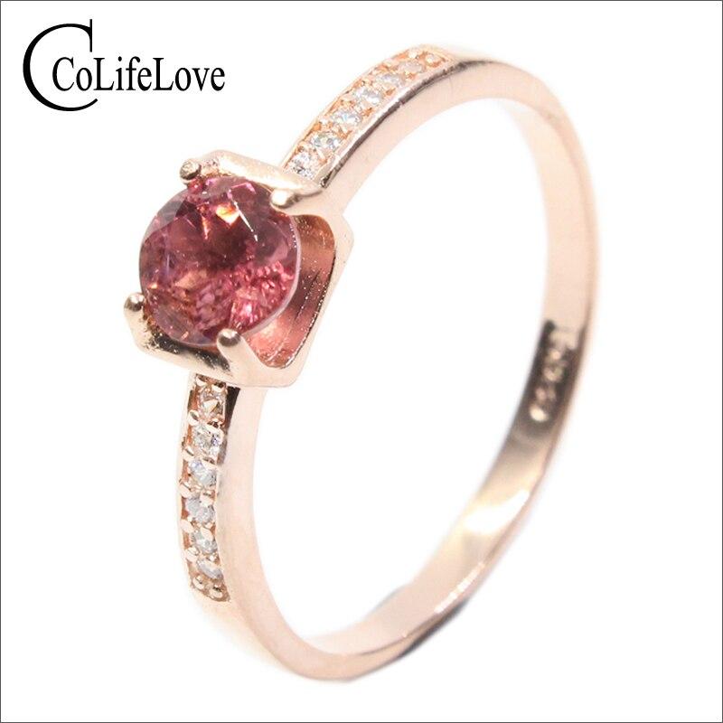 Anillos de gemas naturales redondo de 5mm en forma de piedra de turmalina Rosa anillo de plata maciza 925 Pyrope anillo granate, anillo para mujer