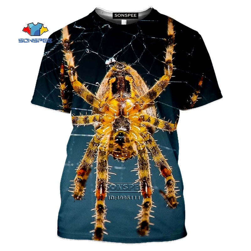 Camiseta divertida de Spider On A Spider Web para hombre, camiseta de animales con estampado 3D, camiseta Unisex de verano de manga corta, ropa deportiva informal de Hip Hop