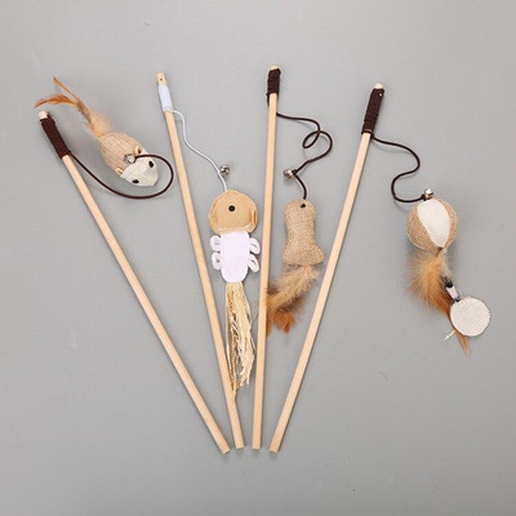 Juguetes De Gato de 40cm, Varita de lino con plumas para gatos, juguetes interactivos para gato, varilla de madera, ratón, juguete