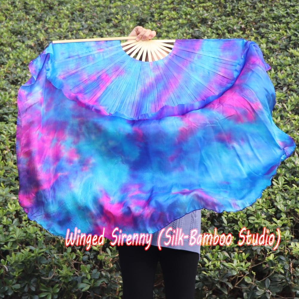 ¡1 pieza mano derecha sirena Dream 38cm bambú + 60cm seda china dance silk fan(flutter), seda real holgada!