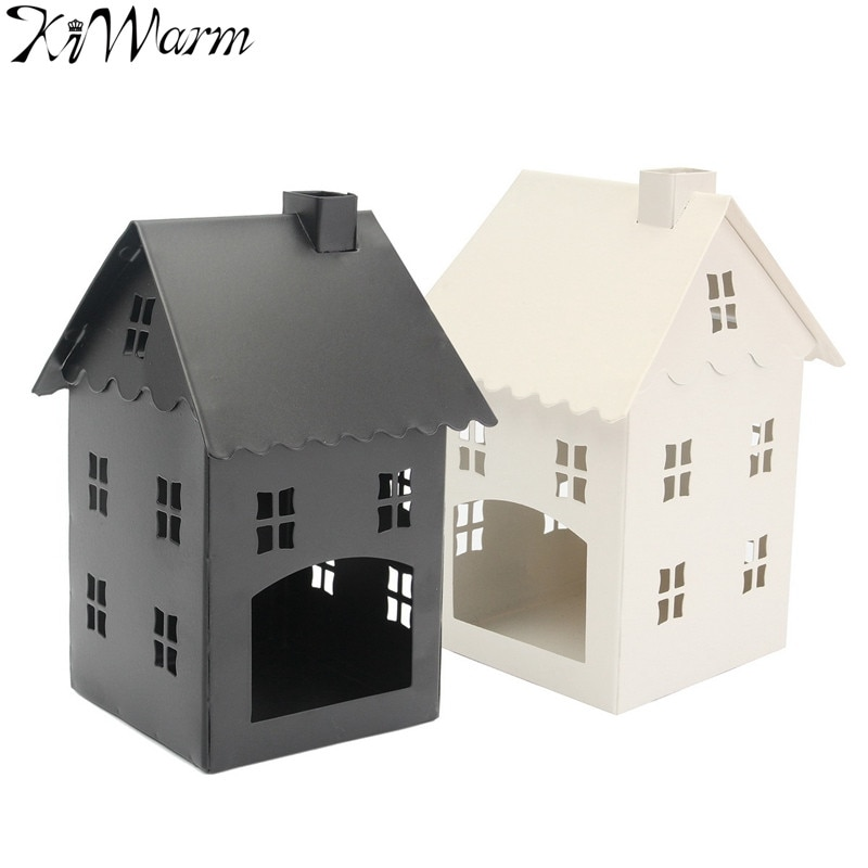 KiWarm Vintage rétro romantique Style pastorale fer blanc noir maison lanterne support de bougie chauffe-plat mariage maison boutique décor cadeau