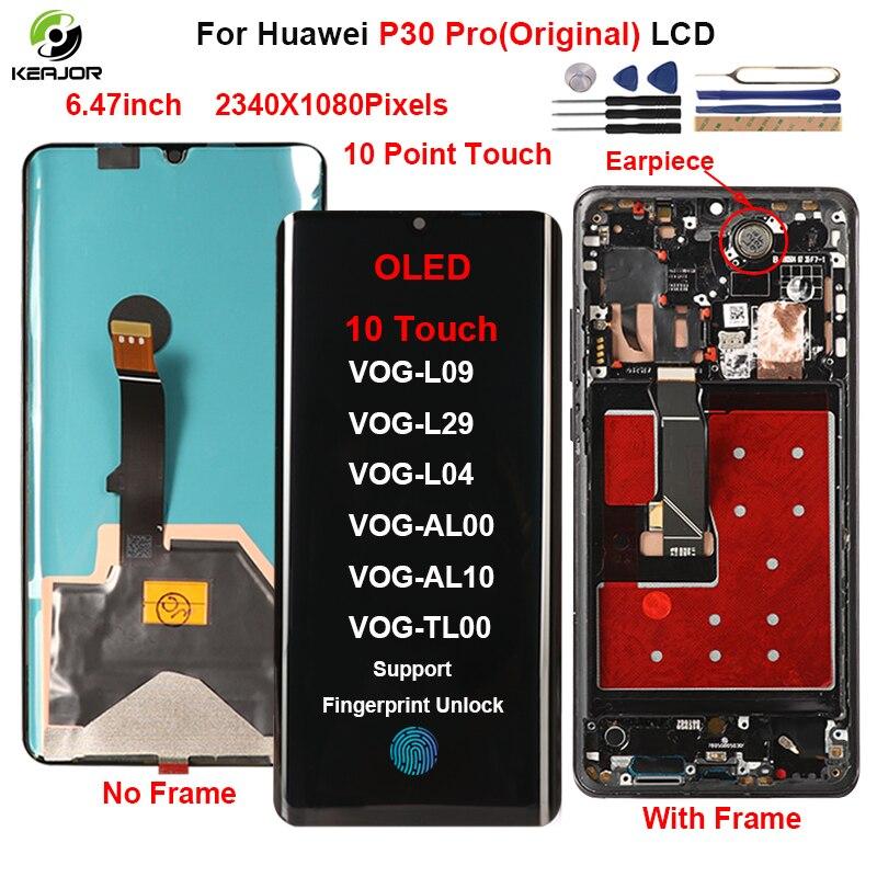Pantalla Original para Huawei P30 Pro LCD pantalla táctil con marco de repuesto para Huawei P30 P 30 Pro Display VOG-L29