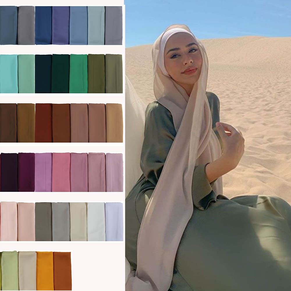 Gute nähen stich plain hohe qualität premium schwere Chiffon hijab schal Malaysische frauen schals hijabs lange schal schals