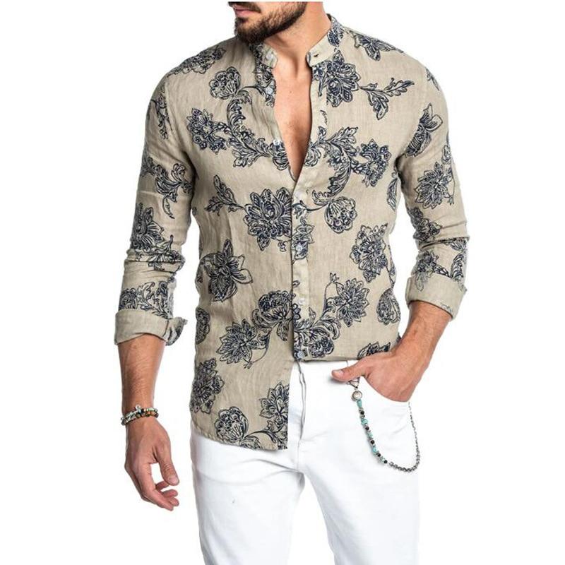 Мужская одежда, новинка 2021, мужская рубашка в европейском стиле с отложным воротником, нагрудными завязками, длинными рукавами и принтом, по...