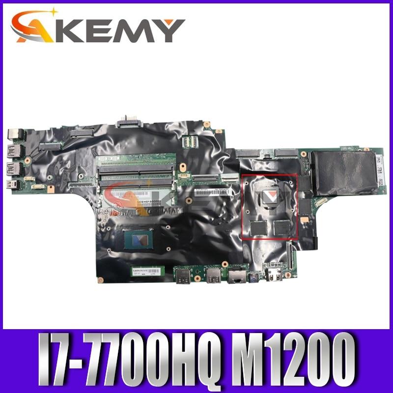 Akemy لينوفو ثينك باد P51 اللوحة الأم للكمبيوتر المحمول وحدة المعالجة المركزية i7-7700HQ وحدة معالجة الرسومات M1200 اختبار 100% العمل FRU 01AV369 01AV360 01AV359