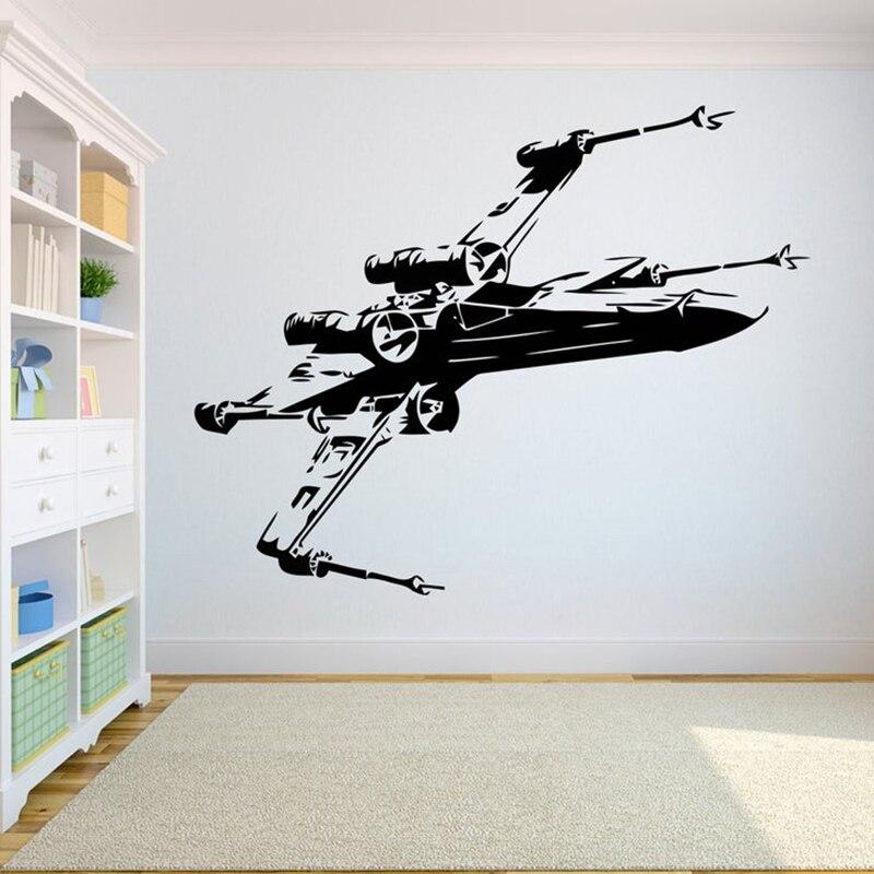 Avião modelo decalque da parede vinil lutador adesivo de parede para quarto adolescente meninos decoração removível mural à prova dxágua x085