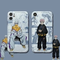 hot anime jujutsu kaisen silicone soft phone case for iphone 12 pro max carcasa iphone 11 coque couple smartphone cover