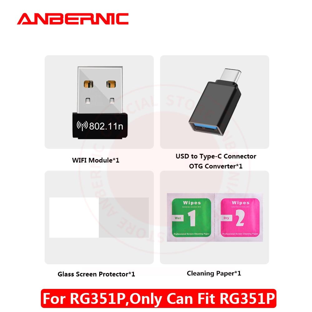 ANBERNIC-Puerto USB tipo C RG351P, película de vidrio, módulo WIFI, KITS de bolsa para RG351V Protector de pantalla, bolsa RG351M