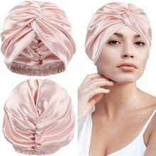 100% Double Silk Sleeping Cap Night Silk Sleep Cover for Women with Elastic Ribbon for Hair Care Lon