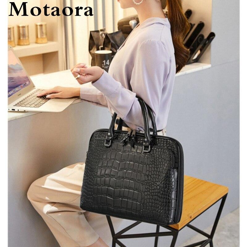 Motaora حقيبة كتف نسائية حقيبة جلدية لأجهزة الكمبيوتر المحمولة 14 بوصة 2020 حقائب الموضة الصلبة المرأة حقيبة أعمال مهنية