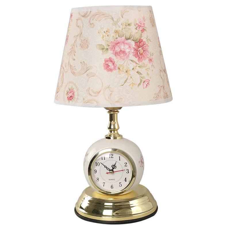 الحديثة ساعة الجدول مصباح 5 أنماط غرفة المعيشة غرفة نوم ضوء ليلة أنيقة الدافئة تصفيح النسيج مكتب أضواء الإنارة