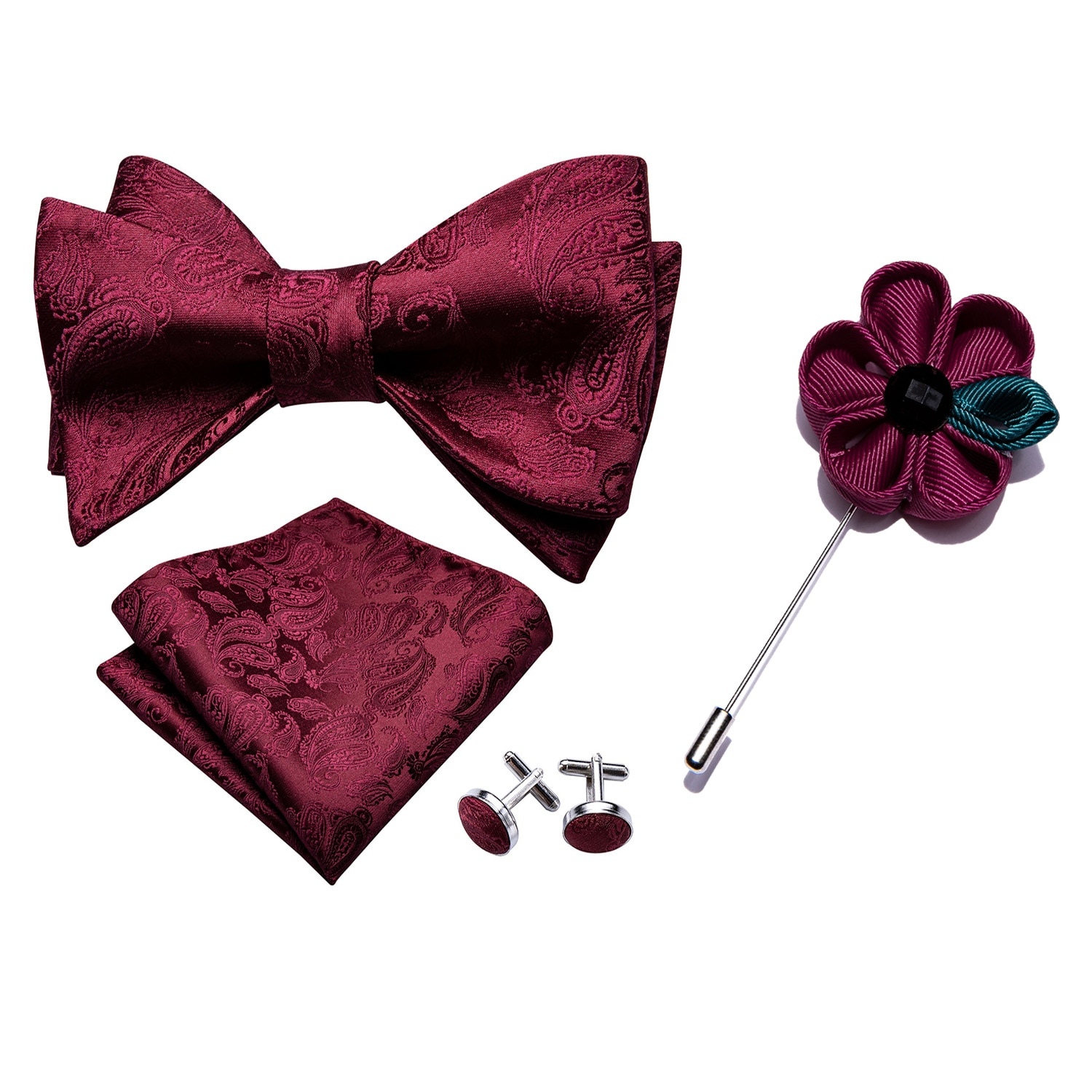 Barry.Wang Men Bowtie Red Self-tied Bows Paisley Burgundy Silk Tie Set Pocket Square Cufflinks Boutonniere for Wedding Party burgundy sexy backless self tie bikini set