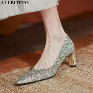 ALLBITEFO size 34-43 soft genuine leather women heels shoes pumps fashion party wedding shoes high heel shoes woman high heels