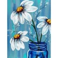 Peinture diamant theme  fleur blanche   broderie complete 5D  perles carrees ou rondes  a faire soi-meme  3D  strass  point de croix  decoration dinterieur  cadeau