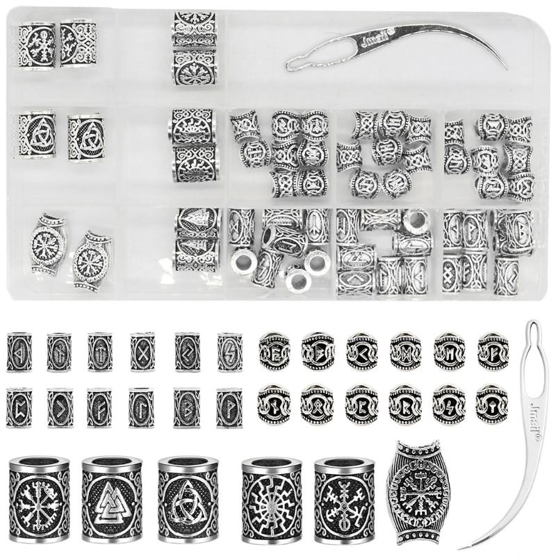 African Dirty Braid Hair Accessories Norwegian Nordic Viking Rune Alphabet Characters Ancient Silver