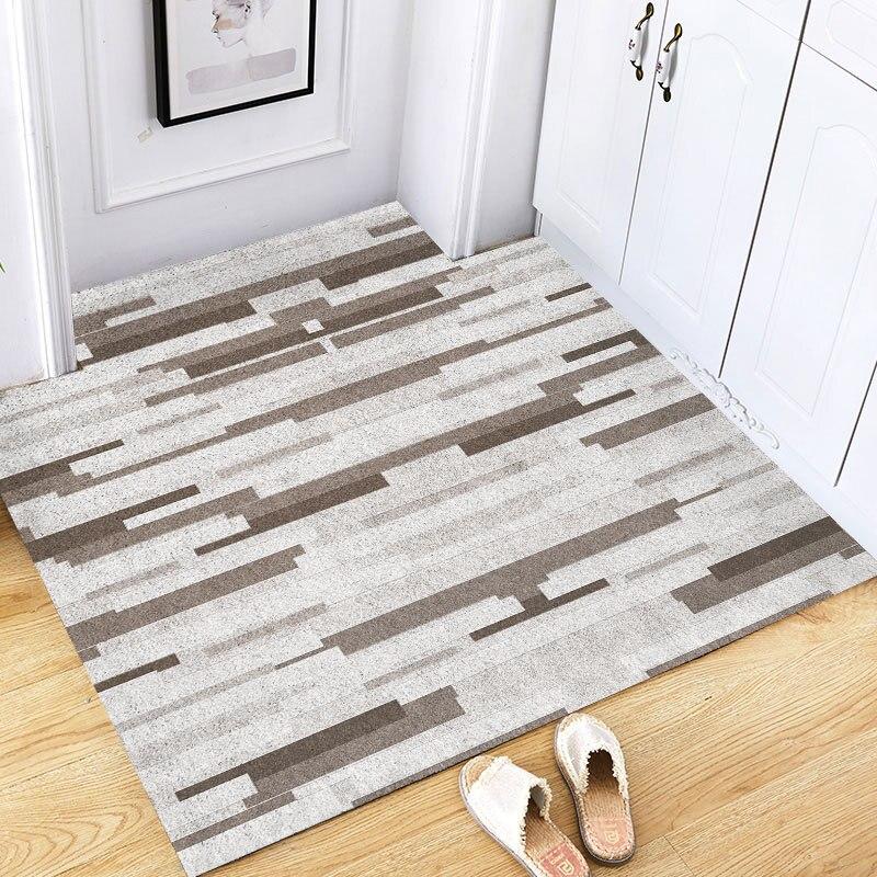 Nordic Stripe Door Mat Carpet Non-slip Mud Scraping Dust Removal Mat Carpet Living Room Indoor Silk Loop Cut Home Floor Doormats