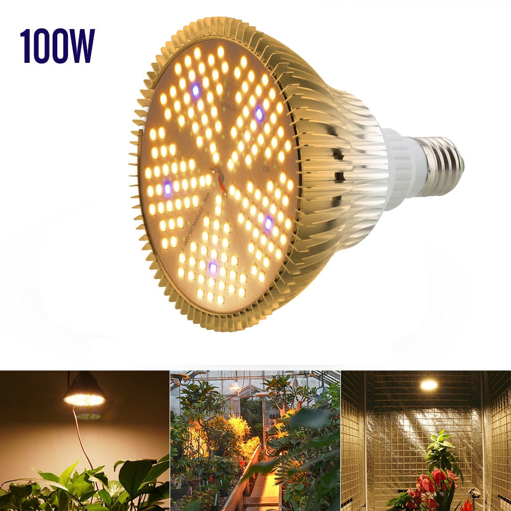10Pcs E27 100W Full spectrum Led Grow Light 150LEDs Warm White Lamp For Indoor Plants Greenhouse Seeds Flower Growing Tent enlarge