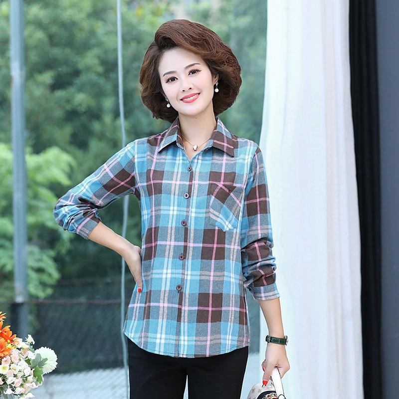 Осенняя клетчатая хлопковая рубашка, Женская Повседневная рубашка из ткани с обработкой, Женская Удобная рубашка в клетку, разноцветная од...