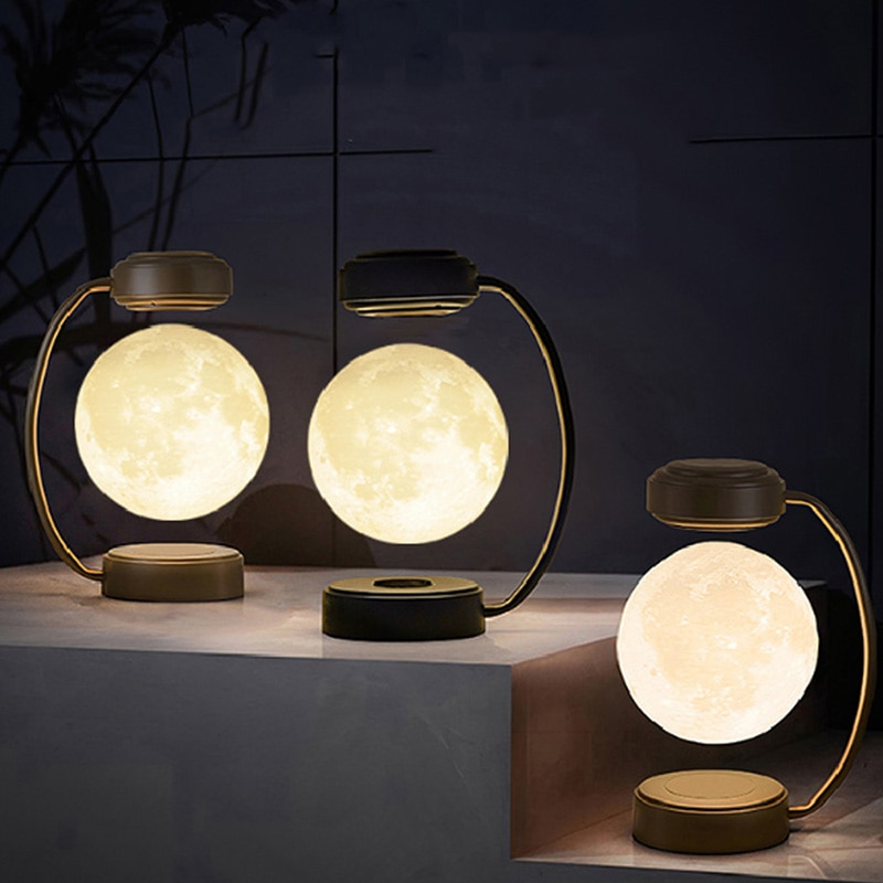 Creativity Magnetic Levitation Moon Lamp LED Rotating Dangling Moon Night Light Home Novelty Decoration Children's Holiday Gifts enlarge