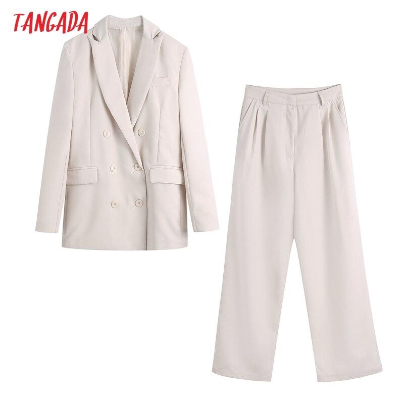 Tangada 2020 المرأة مجموعة البيج مكتب سيدة السترة دعوى 2 قطعة مجموعة الإناث حقق طوق سترة السيدات سترة السراويل مجموعات BE713