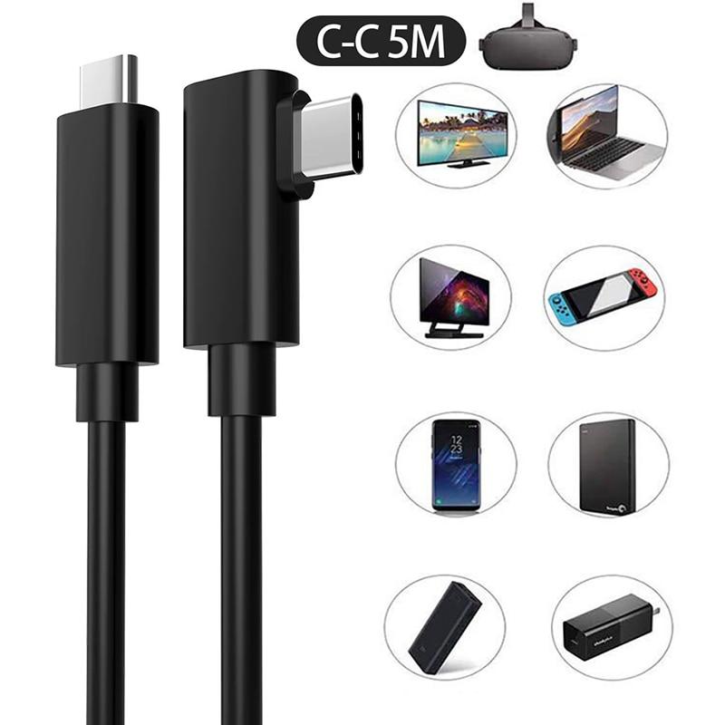 كابل 5 متر USB من النوع C لـ كوة كويست 1 2 وصلة نقل بيانات VR متوافق مع شحن سريع USB 3.2 Type-C إلى مهايئ USB C