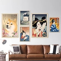 home decor canvas painting pictures prints japanese culture geisha and animal wall art vintage poster mural for living room