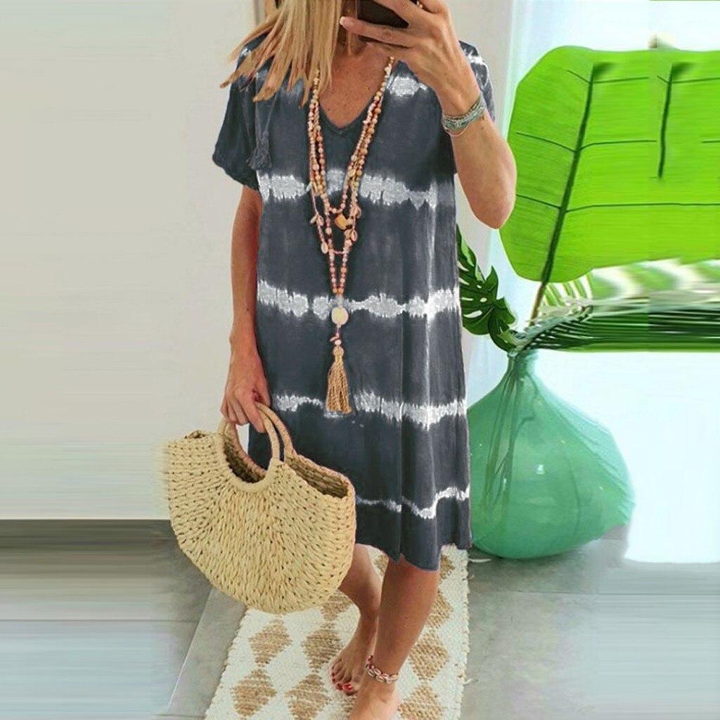 (S-3XL) Womens Boho Casual Striped Tie-Dye Print Dress Patchwork Summer V Neck Loose T-Shirt Dress Beach Holiday Femme Robe