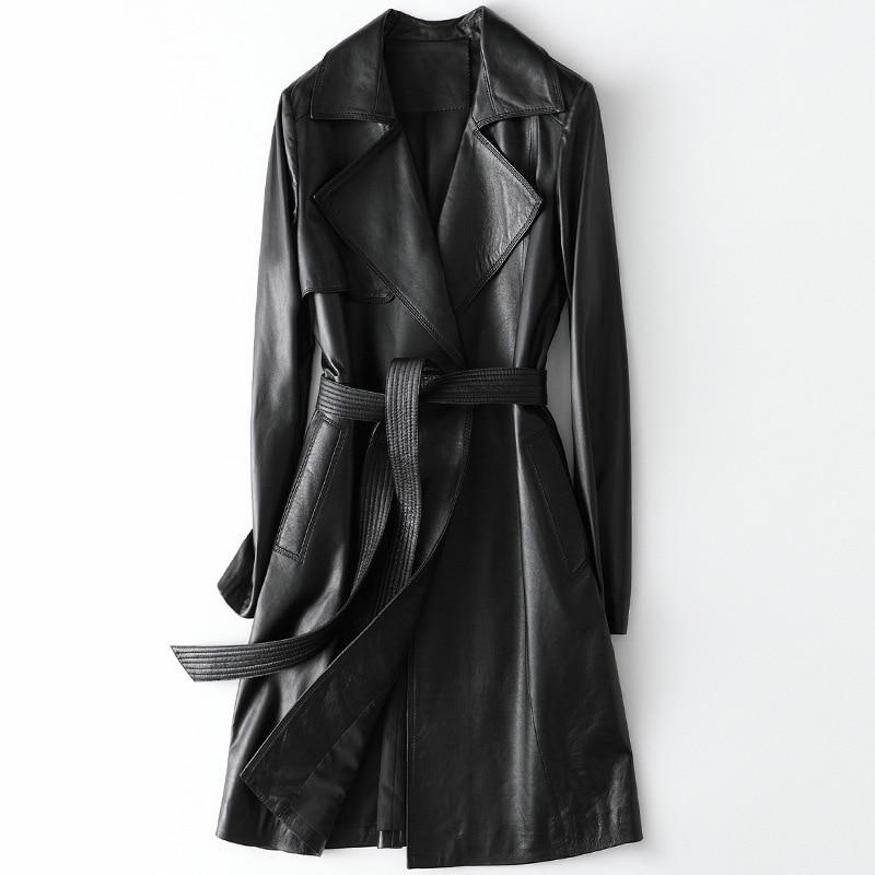 2021 Leather Shearling Jacket Belts Long Women Black Turn Down Collar Sheepskin Office Lady Genuine Leather Coats 3XL Plus Size