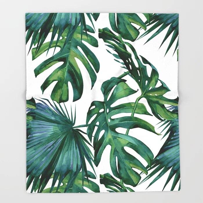 Hojas tropicales dibujos animados lanza para sofá diseño bonito hojas de palma clásicas mantas adornos navideños para el hogar manta personalizada