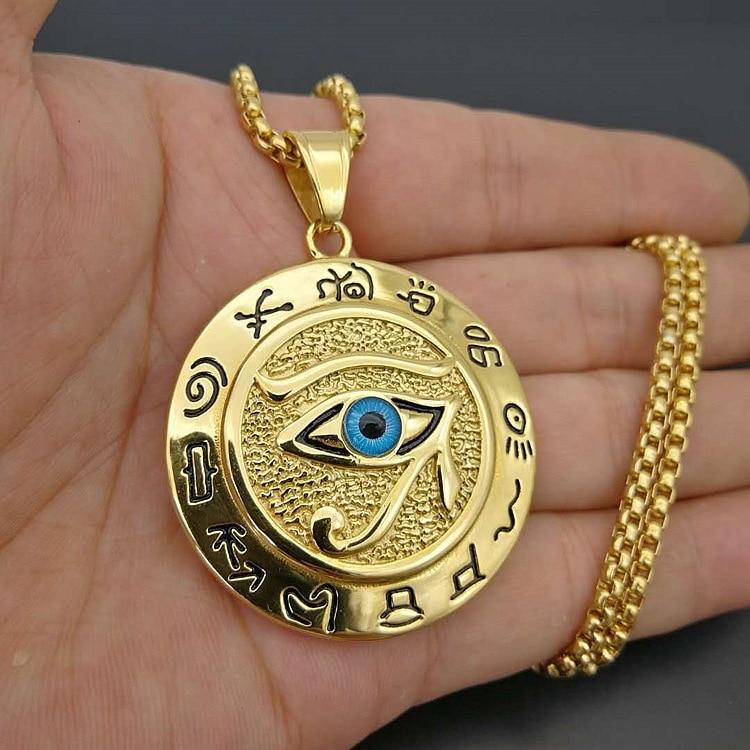 Collar clásico y a la moda para hombre, colgante de acero inoxidable con forma de Ojo de Horus egipcio antiguo, collar con cabeza de águila y cadena de perlas cuadradas, Gargantilla