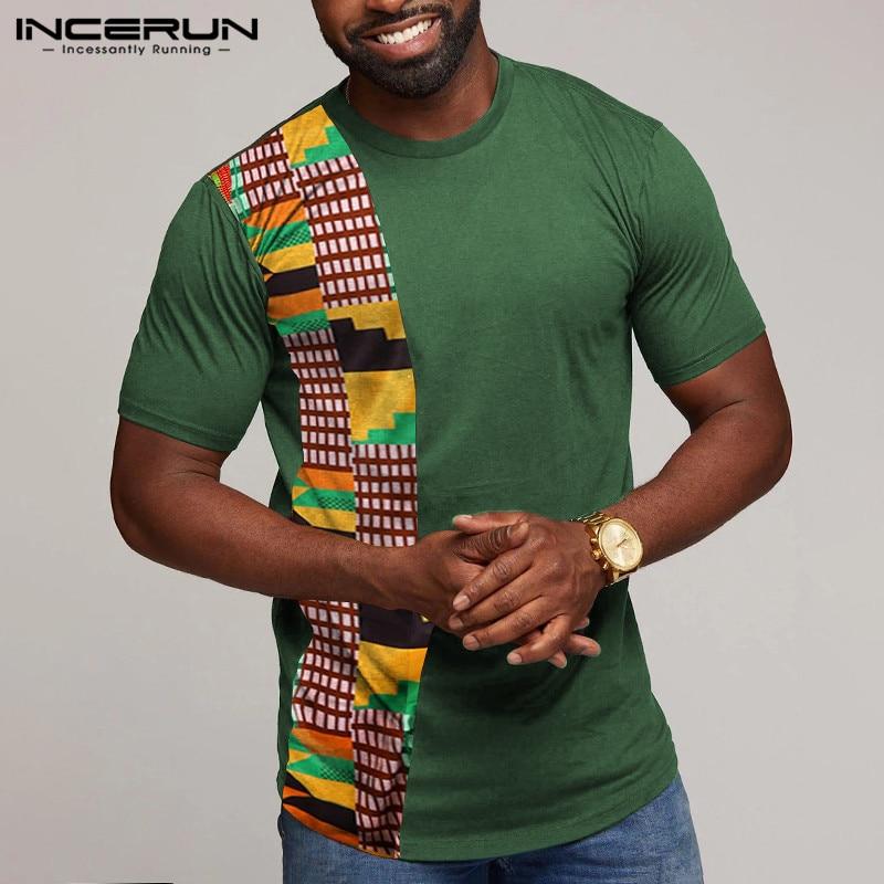 INCERUN, camiseta africana de verano para hombre, cuello redondo 2020, manga corta, estampado de retazos, camisetas casuales para hombre, camisetas Dashiki de moda