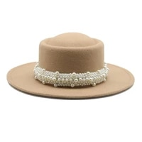 women hats round top pearl band formal spring men women felted hats jazz church wedding solid classic belt black fedora hats new