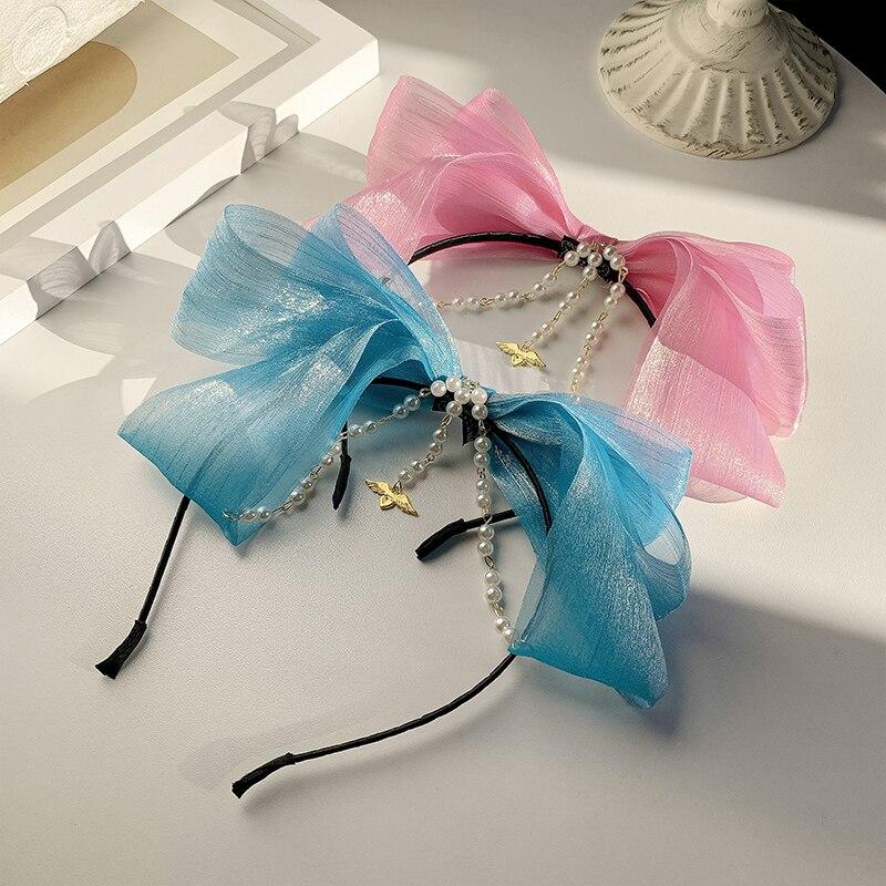 Children's Bow Headband Pearl Hairpin Hair Hoop Girls Forehead Lace Super Fairy Princess Tiara GIRL'