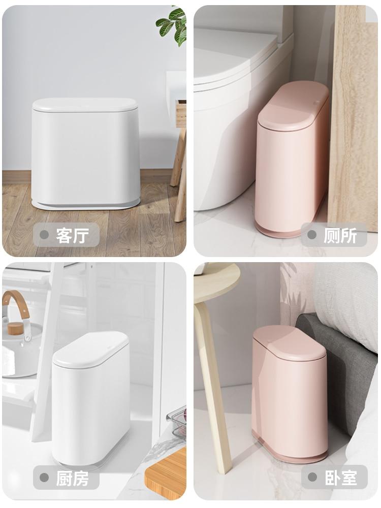 Creative Press Trash Can Plastic Big Bathroom Simple Waterproof Luxury Creative Trash Can Toilet Cubo Basura Home Product DG50WB enlarge