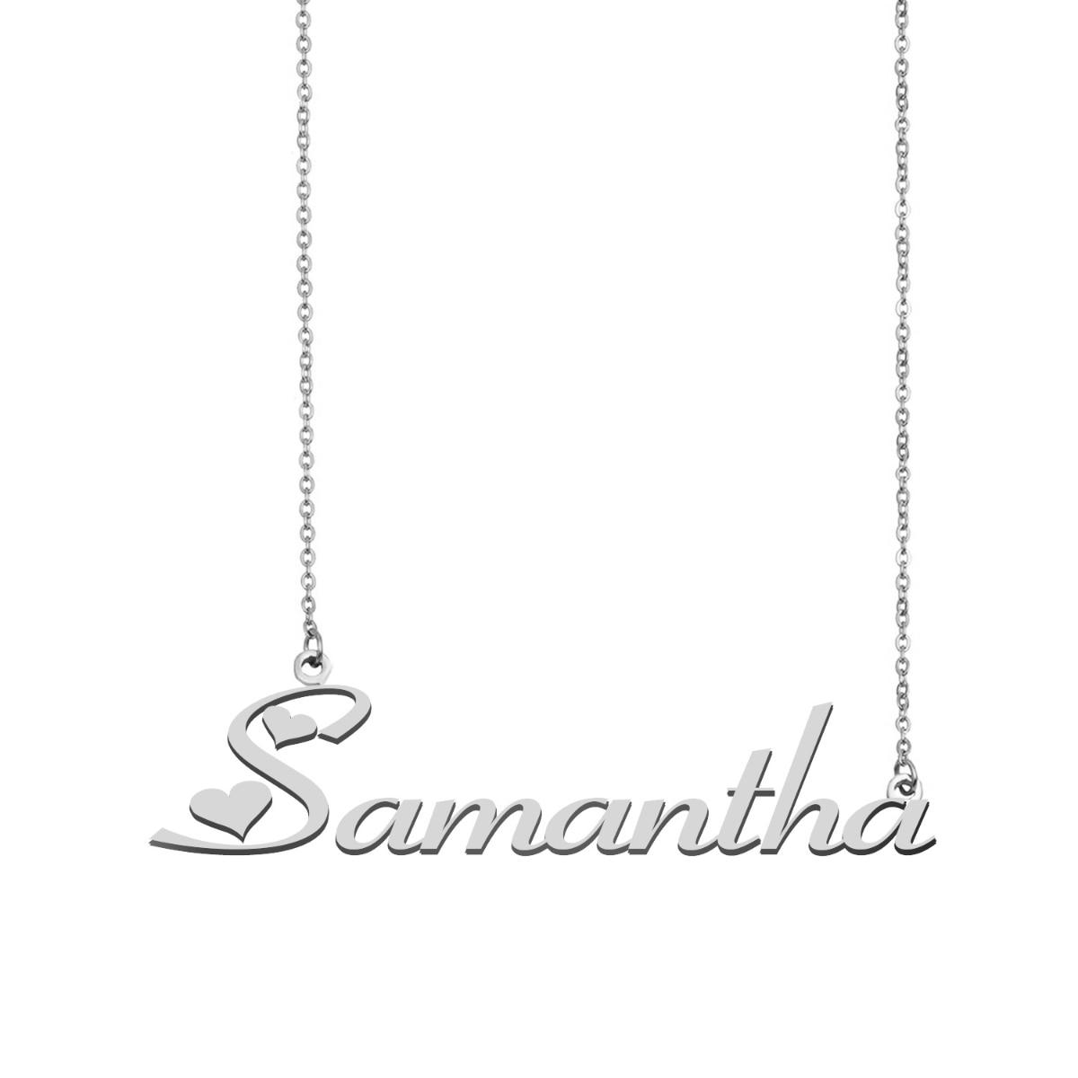 سامانثا اسم قلادة شخصية الفولاذ المقاوم للصدأ المرأة المختنق 18k مطلية بالذهب الأبجدية قلادة بحرف مجوهرات أصدقاء هدية